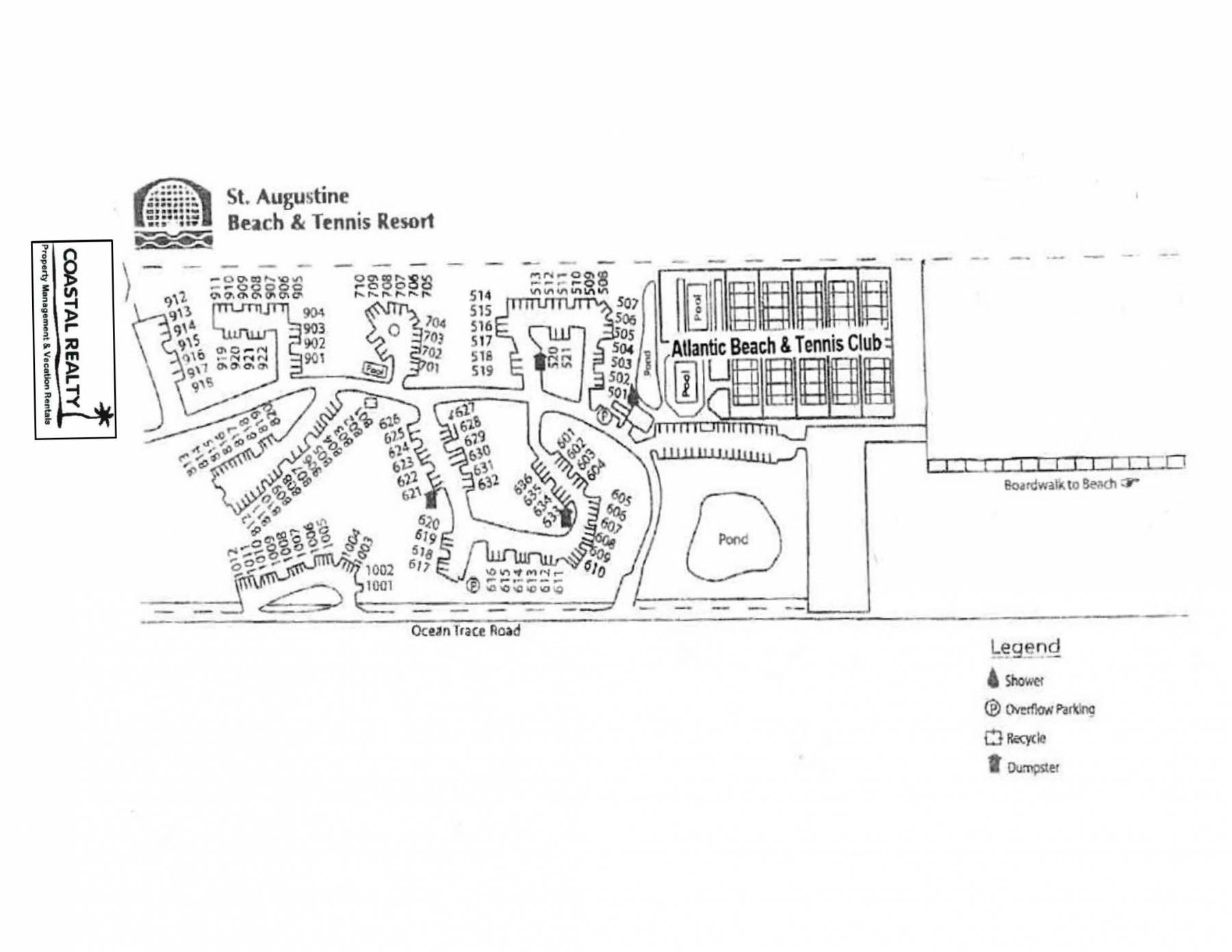 st augustine beach and tennis resort map